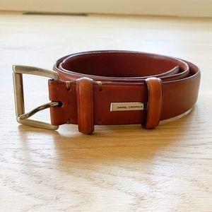 DANIEL CREMIEUX mens cognac leather dress belt